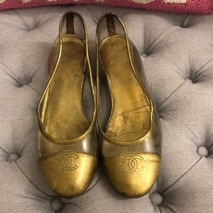 Gold CHANEL PVC Flats Size 37